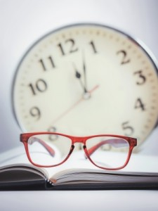 clock and glasses